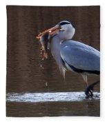 Heron With Perch Fleece Blanket