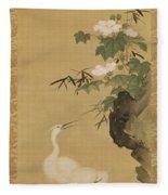 Herons And Cotton Roses Fleece Blanket