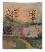 Heron's Hangout At Sunrise Fleece Blanket