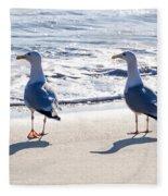 Herring Gulls On The Beach Fleece Blanket