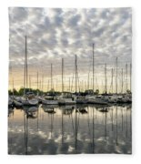 Herringbone Sky Patterns With Yachts And Boats  Fleece Blanket