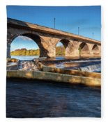 Hexham Bridge And Fish Pass Fleece Blanket