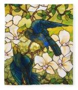 Hibiscus And Parrots Fleece Blanket