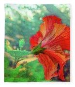 Hibiscus Flame Fleece Blanket
