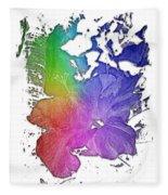 Hibiscus S D Z 2 Cool Rainbow 3 Dimensional Fleece Blanket