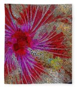 Hibiscus Stained Glass Fleece Blanket
