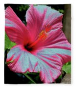 Hibiscus With A Solarize Effect Fleece Blanket
