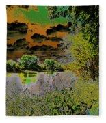 High Contrast River Sunset Fleece Blanket