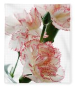 High Key Pink And White Carnation Floral  Fleece Blanket