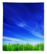 High Resolution Image Of Fresh Green Grass And Blue Sky Fleece Blanket