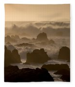 High Surf At Asilomar Beach Fleece Blanket