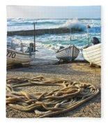 High Tide In Sennen Cove Cornwall Fleece Blanket
