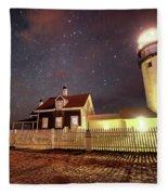 Highland Light Truro Massachusetts Cape Cod Starry Sky Shadow Fleece Blanket