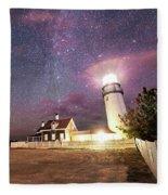 Highland Light Truro Massachusetts Cape Cod Starry Sky Shadow Yard Fleece Blanket