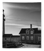 Highland Lighthouse Bw Fleece Blanket