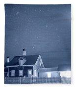 Highland Lighthouse Truro Ma Cape Cod Monochrome Blue Nights Fleece Blanket