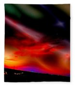 Highway Surreal Sunset Fleece Blanket
