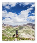 Hiker And Dog Fleece Blanket