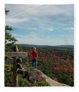 Hiker In Acadia National Park Fleece Blanket