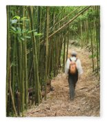 Hiker In Bamboo Forest Fleece Blanket