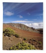 Hikers Inside Haleakala  Fleece Blanket