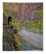 Hikers Zion National Park Fleece Blanket