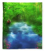 Hiking At The Rivers Edge Fleece Blanket