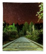 Hiking Into The Night Adirondack Log Keene Valley Ny New York Fleece Blanket