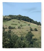 Hill With Haystack And Trees Landscape Fleece Blanket