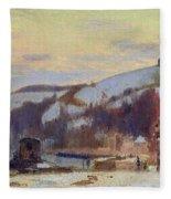 Hillside At Croisset Under Snow Fleece Blanket