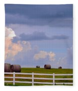 Hillside Hay Bales At Sunset Fleece Blanket