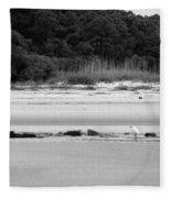 Hilton Head Island Shoreline In Black And White Fleece Blanket