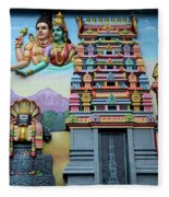 Hindu Deities On Wall Mural Of Sri Senpaga Vinayagar Tamil Temple Ceylon Rd Singapore Fleece Blanket