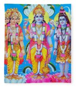 Hindu Trinity Brahma Vishnu Shiva Fleece Blanket