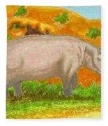 Hippo In The Savanna Fleece Blanket