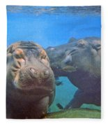 Hippos In Love Fleece Blanket
