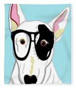 Hipster Bull Terrier Fleece Blanket