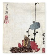 Hiroshige: Poppies Fleece Blanket