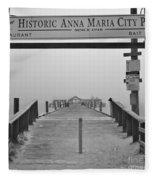 Historic Anna Maria City Pier In Fog Infrared 52 Fleece Blanket