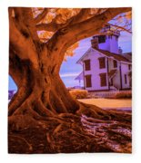 Historic Fermin Point Lighthouse In Infrared Fleece Blanket