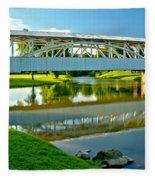 Historic Halls Mill Bridge Reflections Fleece Blanket