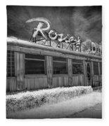 Historic Rosie's Diner In Black And White Infrared Fleece Blanket