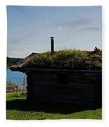Historic Trappers Log Cabin Fleece Blanket