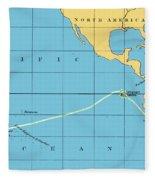 H.m.s. Beagle Course To Galapagos Fleece Blanket