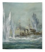 Hms Exeter Engaging In The Graf Spree At The Battle Of The River Plate Fleece Blanket