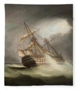 H.m.s. Victory In Full Sail And In A Squall Fleece Blanket