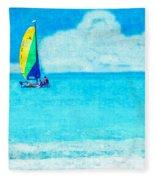 Hobie Sailing Off Lido Beach Coast Fleece Blanket
