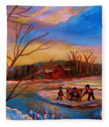 Hockey Game On Frozen Pond Fleece Blanket