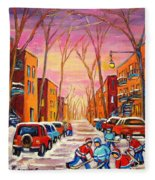 Hockey On Hotel De Ville Street Fleece Blanket