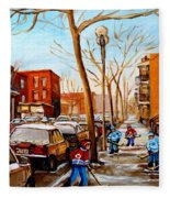 Hockey On St Urbain Street Fleece Blanket